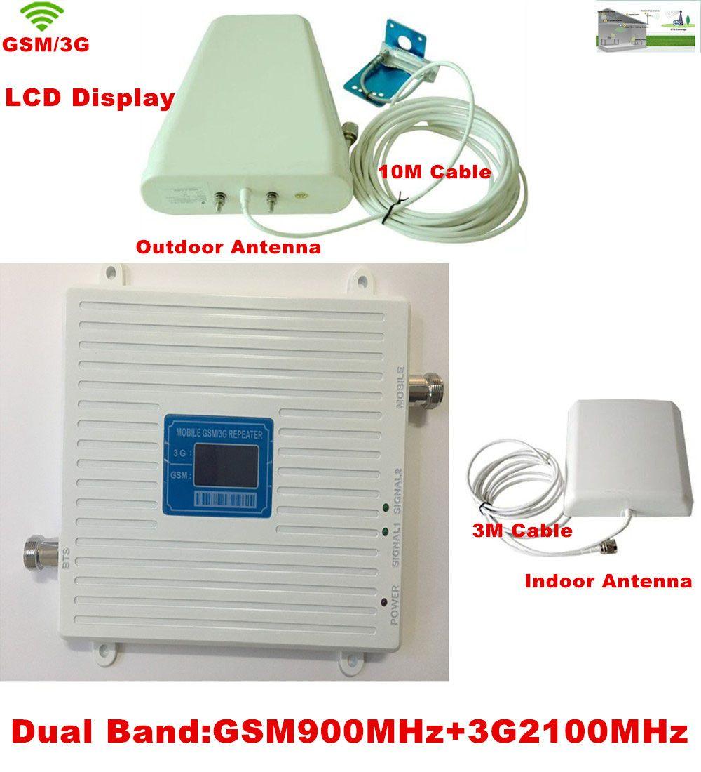 Neueste W-CDMA 2100 MHz 3G 2G GSM 900 Mhz Dual Band Handy Signal Booster Repeater GSM 3G Zellulären Signalverstärker Verstärker