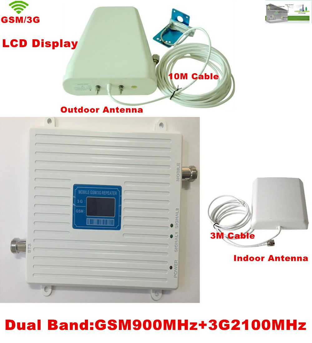 Newest W-CDMA 2100MHz 3G 2G GSM 900Mhz Dual Band Mobile Phone Signal Booster Repeater GSM 3G Cellular Signal Repeater Amplifier