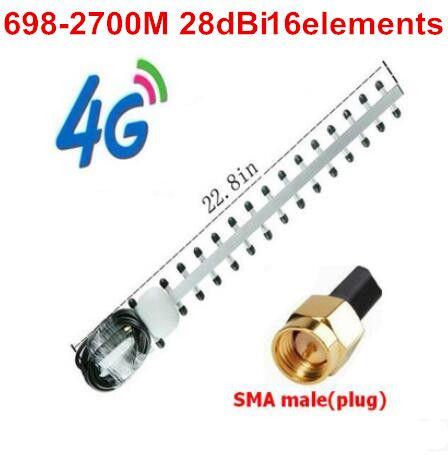 OSHINVOY 4G high gain yagi antenne 28dBi 16 elemente 698-2700 MHz yagi antenne LTE 4G router außen dach yagi-antenne