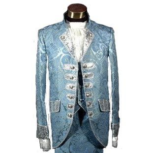Blue Royal Mens Period Costume Medieval Renaissance Stage Performance Prince Charming Fairy Tale William Colonial