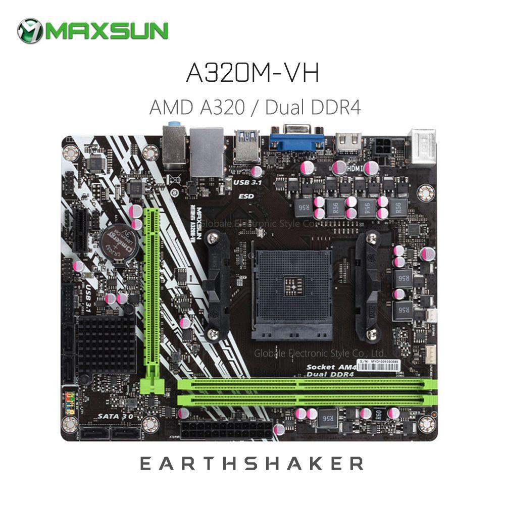 Carte mère d'origine MAXSUN ms-earth shaker A320M-VH AMD mATX double canal DDR4 Gigabit LAN 4 x SATAIII USB3.1 VGA HDMI