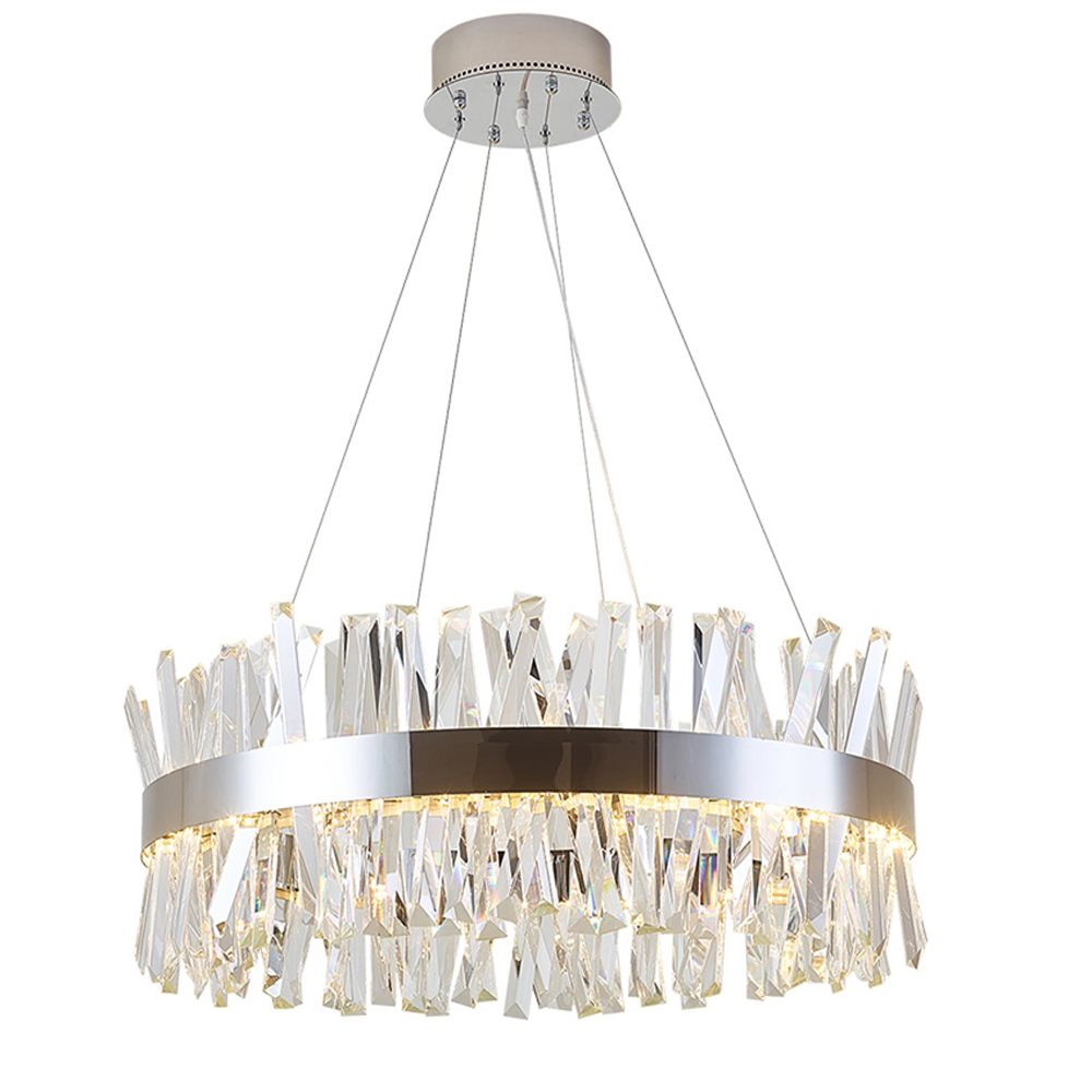 round design modern crystal chandelier lighting luxury dinning room living room lights chrome LED lamp