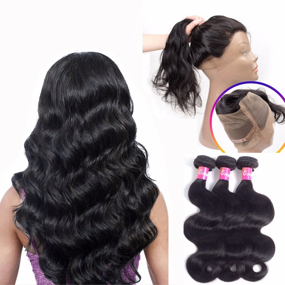 Originea 360 Lace Frontal Closure With 3 Bundles Brazilian Body Wavy Salon Bundles Remy Human Hair With 360 Lace Front Closure