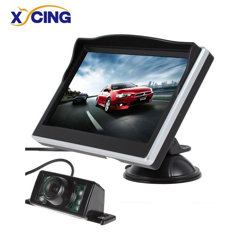 XYCING 5 Inch TFT LCD Color Monitor Car Rear View Monitor Digital HD Screen Sunshade Monitor + 7 IR Lights Car Rear View Camera