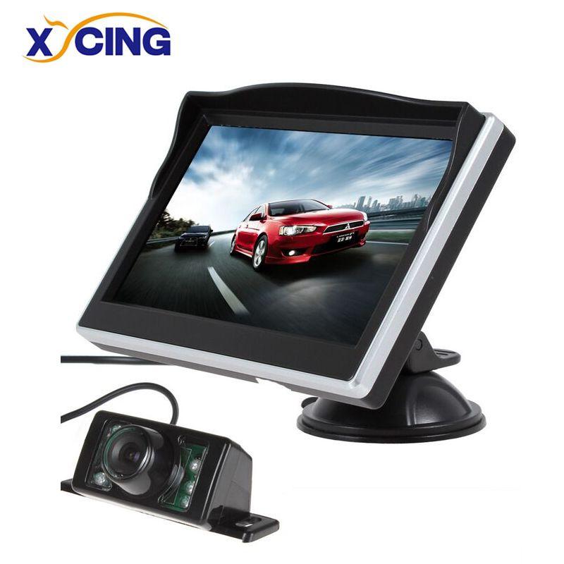 XYCING 5 pouces TFT LCD couleur moniteur voiture vue arrière moniteur numérique HD écran pare-soleil moniteur + 7 IR lumières voiture vue arrière caméra