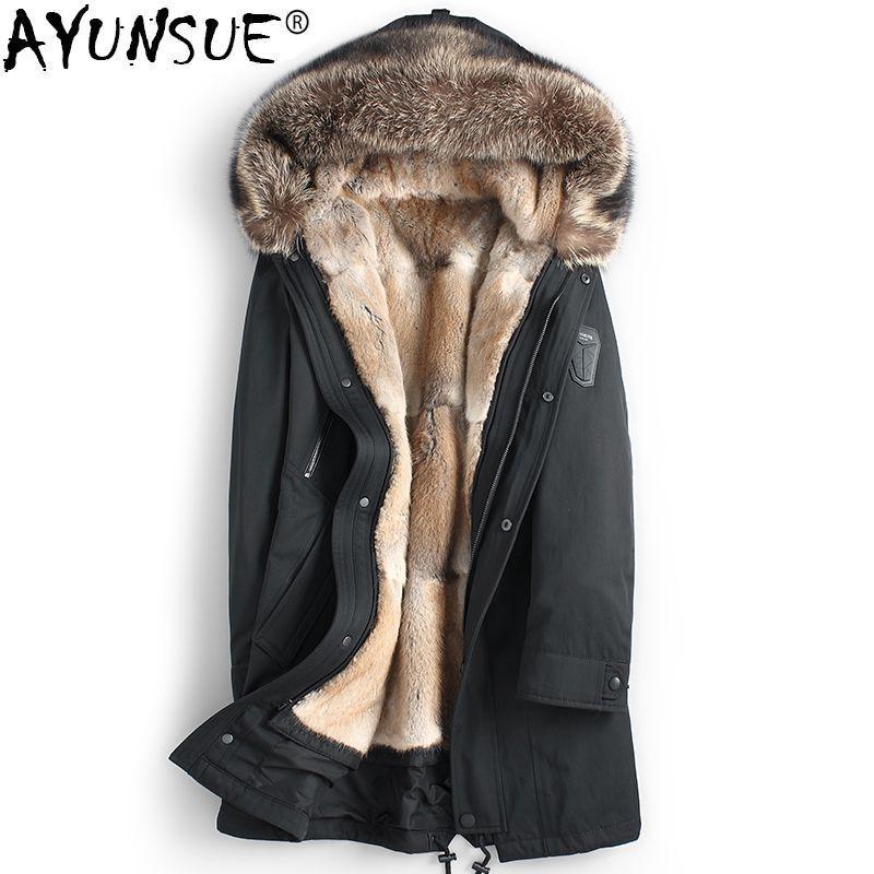 AYUNSUE Echt Pelzmantel Männer Parka Natürliche Nerz Liner herren Winter Jacken Waschbär Pelz Kragen Parkas Luxus Jacke 2018 KJ1192