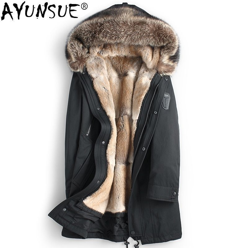 AYUNSUE Real Fur Coat Men Parka Natural Mink Fur Liner Men's Winter Jackets Racoon Fur Collar Parkas Luxury Jacket 2018 KJ1192