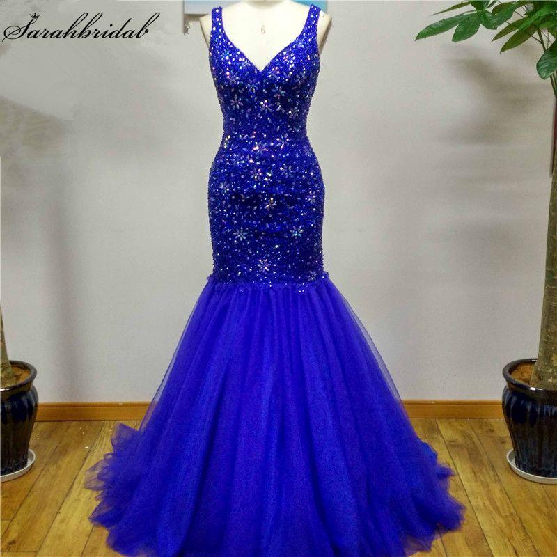 Sexy Royal Blue Criss Cross Mermaid Evening Dresses Crystal Bead Sequin Formal Dresses Real Photos Vestido De Festa LSX049