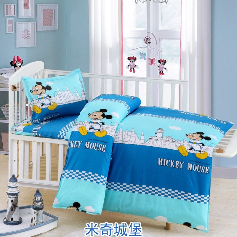 3 PCS /Set Students Childrens Cartoon Cot Bed Bedding Set Baby Boy Girl Bedding Sets for Kids Duvet Cover+Bed Sheet+Pillowcase