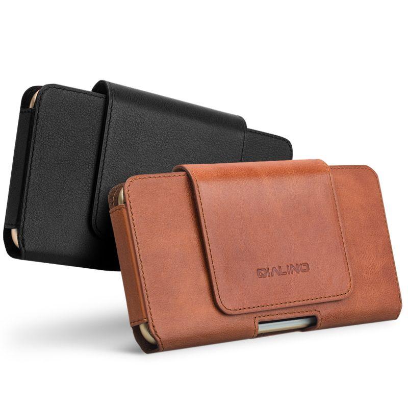 QIALINO Tasche Abdeckung für iPhone 8 plus Business Tasche Fall für Echtes Leder-kasten für iPhone 7 plus Einfache Holster