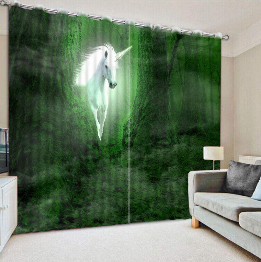 Top Classic 3D European Style curtains living room window green forest horse curtains for living room