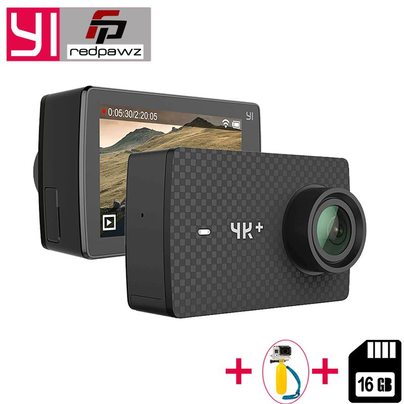 YI 4K Plus Action Camera +16 GB SD Card 2.19' Ambarella H2 for SONY IMX377 12MP 155 Degree 4K Ultra HD for Xiaomi 4K+ Sports Cam
