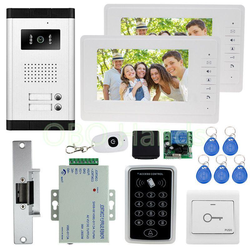 7 ''farbe video tür sprechanlage kamera mit rfid tür access control keypad system kit set + elektro schloss für wohnungen