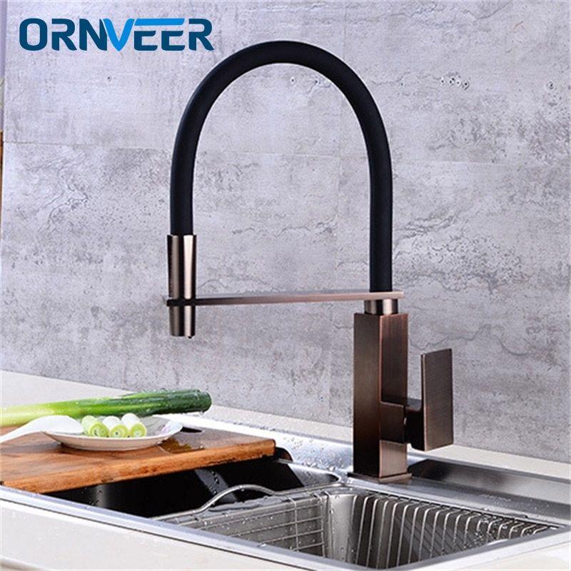 Neueste Küchenarmatur Pull Out Unten 360 Grad-umdrehung Nickel Gebürstet ORB Einzigen Handgriff Waschbecken Hot & Cold Water Tap Mixer