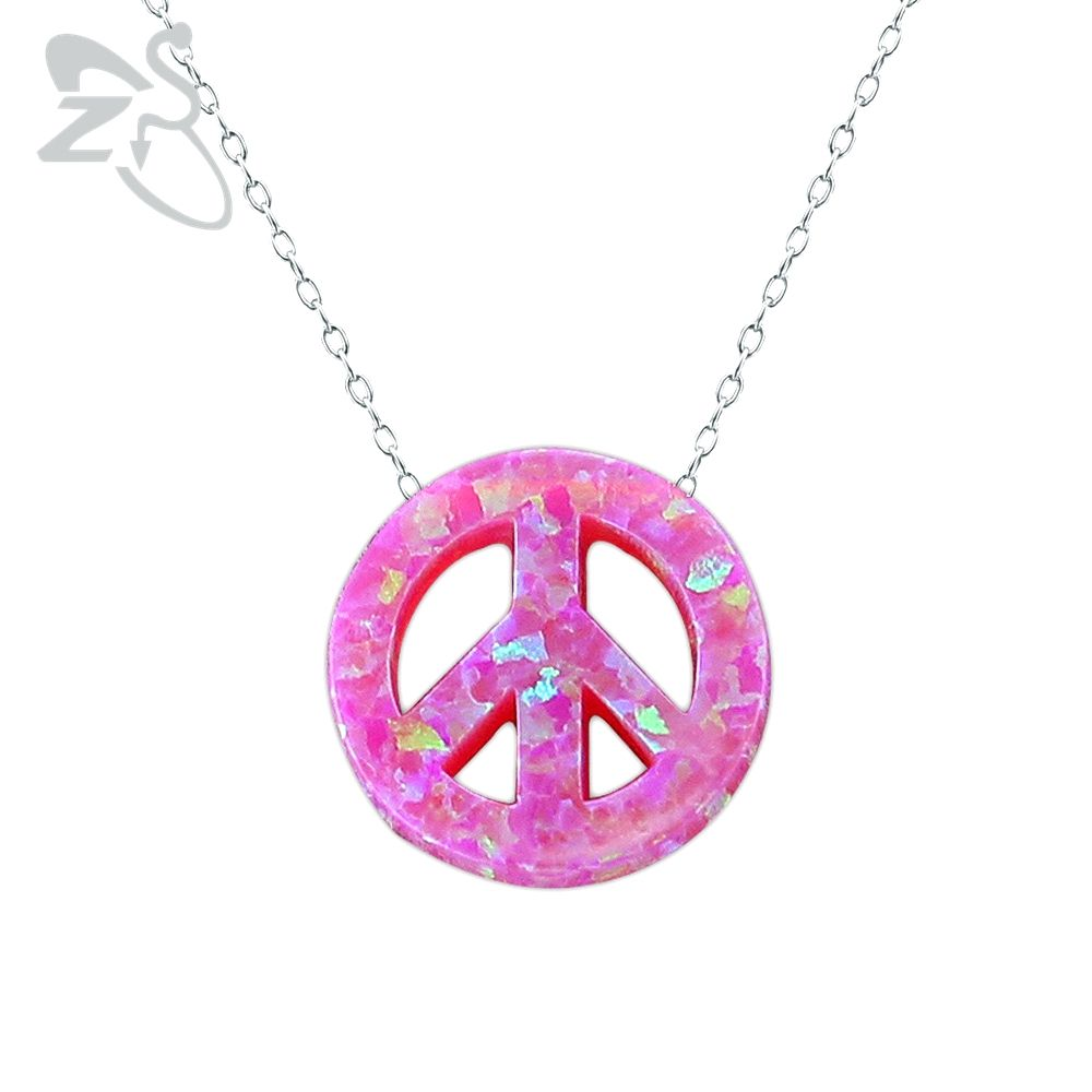 Peace necklace women opal necklace fashion natural stone necklace silver 925 sterling silver pendant bijoux colgantes mujer moda