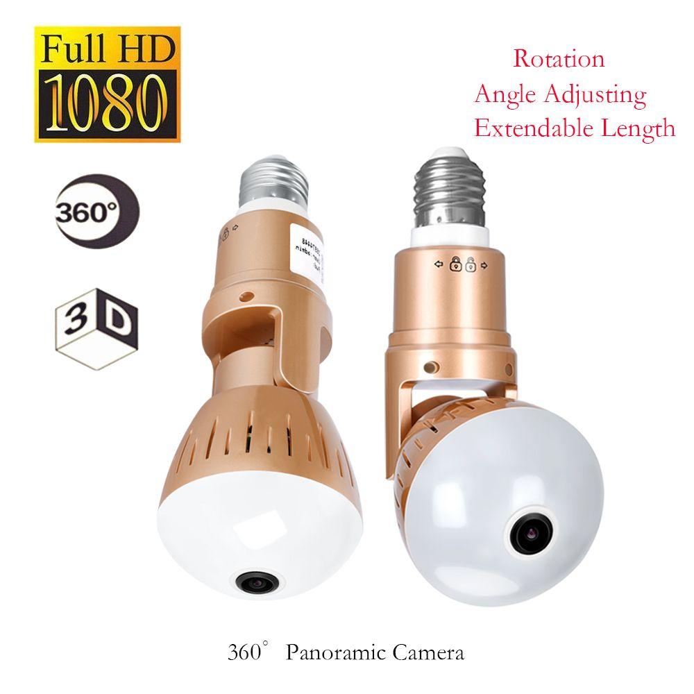 2.0MP ampoule Wifi panoramique 360 degrés caméra sans fil ampoule Fisheye caméra Cctv maison intelligente 3D VR lampe de sécurité Wifi caméra