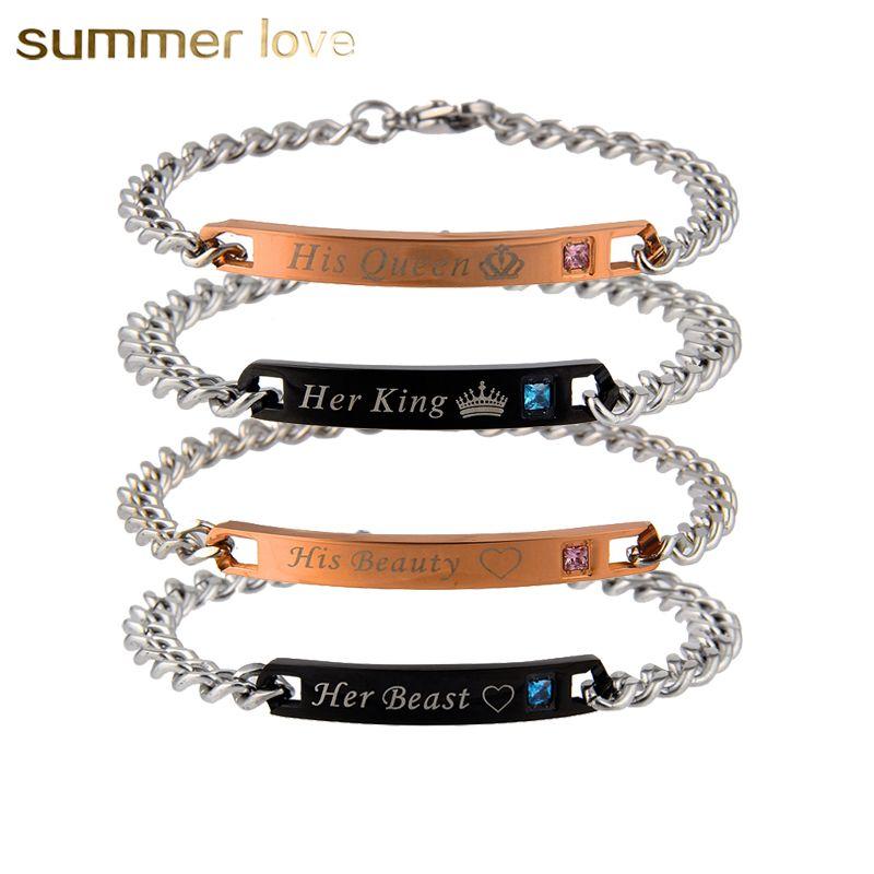 Romantique En Acier Inoxydable Bracelets Son Roi et Sa Reine Bête et Beauté Lettrage crysal Bracelet Pour Hommes Femmes Amant Couple cadeau