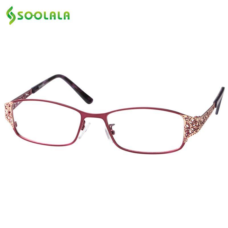 SOOLALA Reading Glasses Women Men Hollow Arm Full Rimmed Reading Glasses Diopter Presbyopic Glasses +0.5 1.5 1.75 2.25 to 5.0