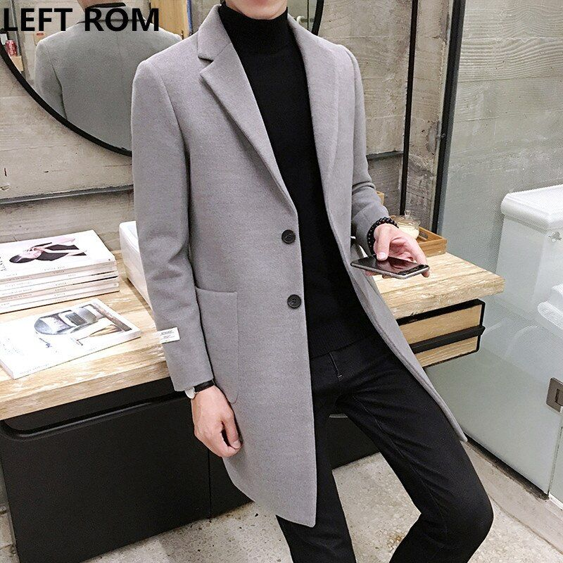 LEFT ROM Fashion men keep warm in winter slim Fit pure color Cashmere coat/male high-grade leisure long jackets size S-XXL
