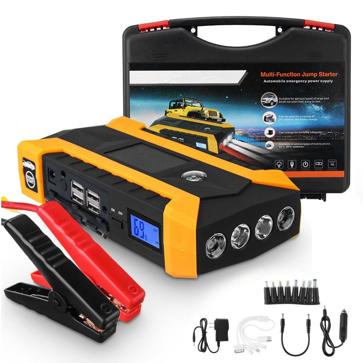 Multifunction Jump Starter 89800mAh 12V 4USB 600A Portable Car Battery Booster Charger Booster Power Bank Starting Device