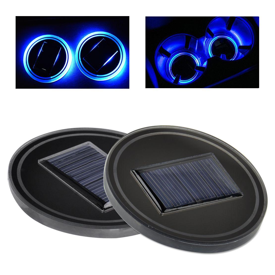 CITALL 2pcs Car Solar Energy Blue LED Light Cover Trim Atmosphere Lamp Decor Mat Cup Holder Bottom Pad for Ford VW Benz Audi BMW