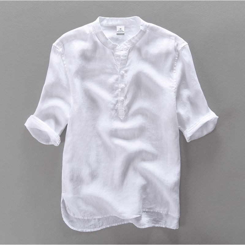 2016 brand clothing 100% Linen Men shirt Slim fit Casual Dress shirts men summer shirt short sleeve mens camisa masculina camisa