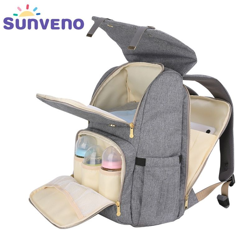 SUNVENO New Fashion Diaper Bag Backpack Large Capacity Baby Bag Nappy Bag for Baby Care