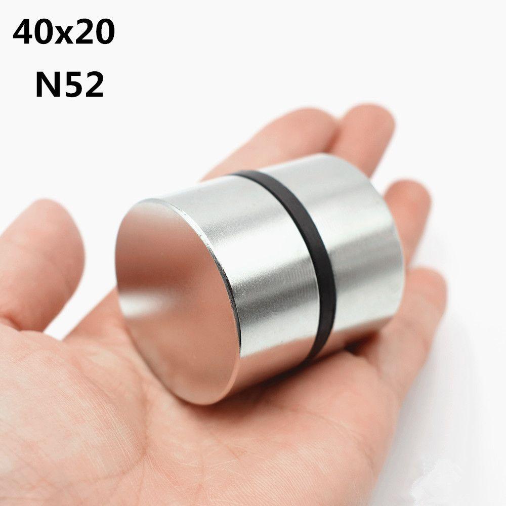 2 pièces Néodyme Aimant N52 40x20mm Rond Super Fort de terre Rare NdFeB Puissant Gallium métal haut-parleur magnétique N35 40*20 Disques