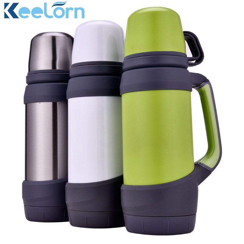 Keelorn vacuum flasks thermoses stainless steel 1L, 1.2L big size outdoor travel cup thermos bottle thermal coffee thermoses Cup
