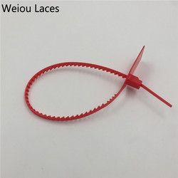 Weiou Jetable En Plastique Joints Tissé Tressé Sacs D'étanchéité Rouge Bandes Zip Cravate Verrouillage Système off blanc Pour Sneakers Chaussures Accessoires