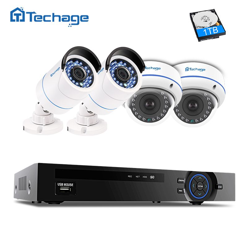 Techage 4ch 1080P HDMI POE CCTV Security System NVR Kit Dome Indoor Outdoor VandalProof Anti-vandal IP Camera Surveillance Set