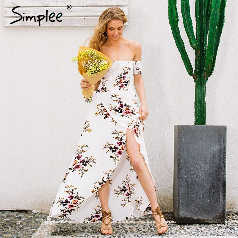 Simplee Boho style long dress women Off shoulder beach summer dress new year Vintage chiffon white maxi dress vestidos de festa