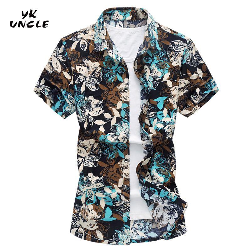 YK UNCLE Brand 2017 New Fashion Hawaiian Beach Men Short Sleeve Shirt Mercerized Cotton Big Size 5/6/7XL Good Quality Man Shirts