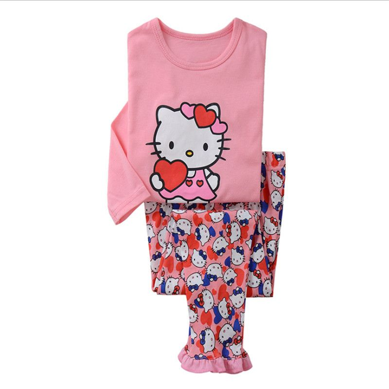 new hot cartoon Pajamas for Toddler girls 2-8Y hello kitty Cosplay Sleepwear Suit for Children girl 2pcs Clothes sets with pants