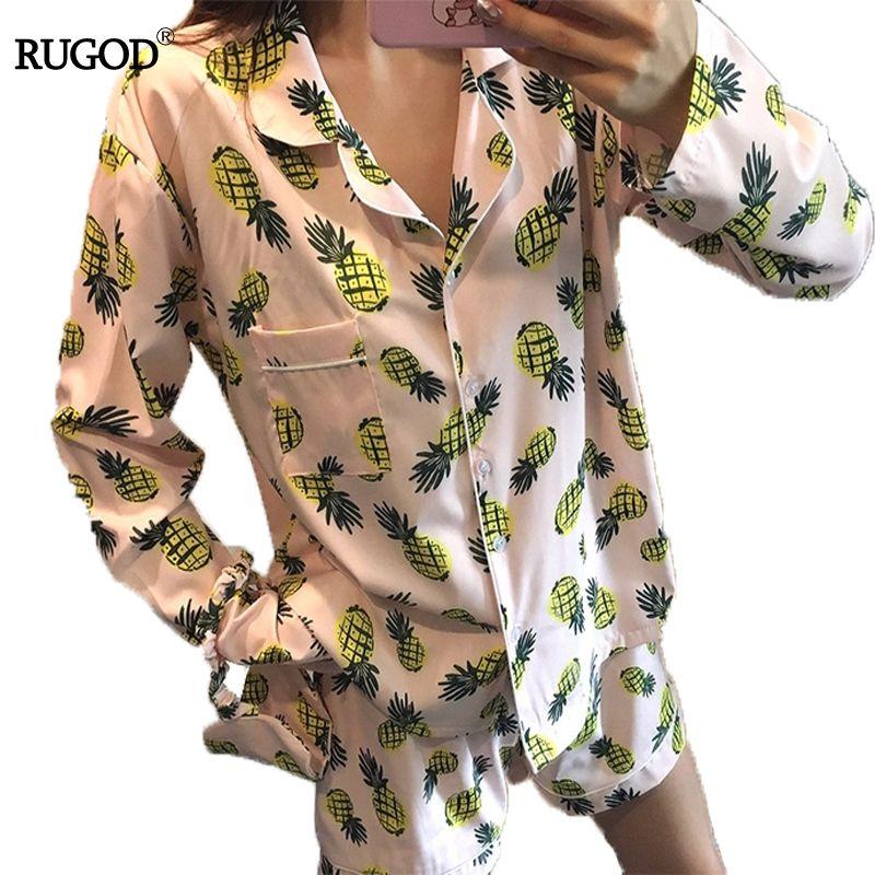RUGOD 2018 New Lolita Pineapple Print Pajamajas Women Autumn Casual long Sleeve Jacket+ short Set Cute Cartoon Sleepwear Femme