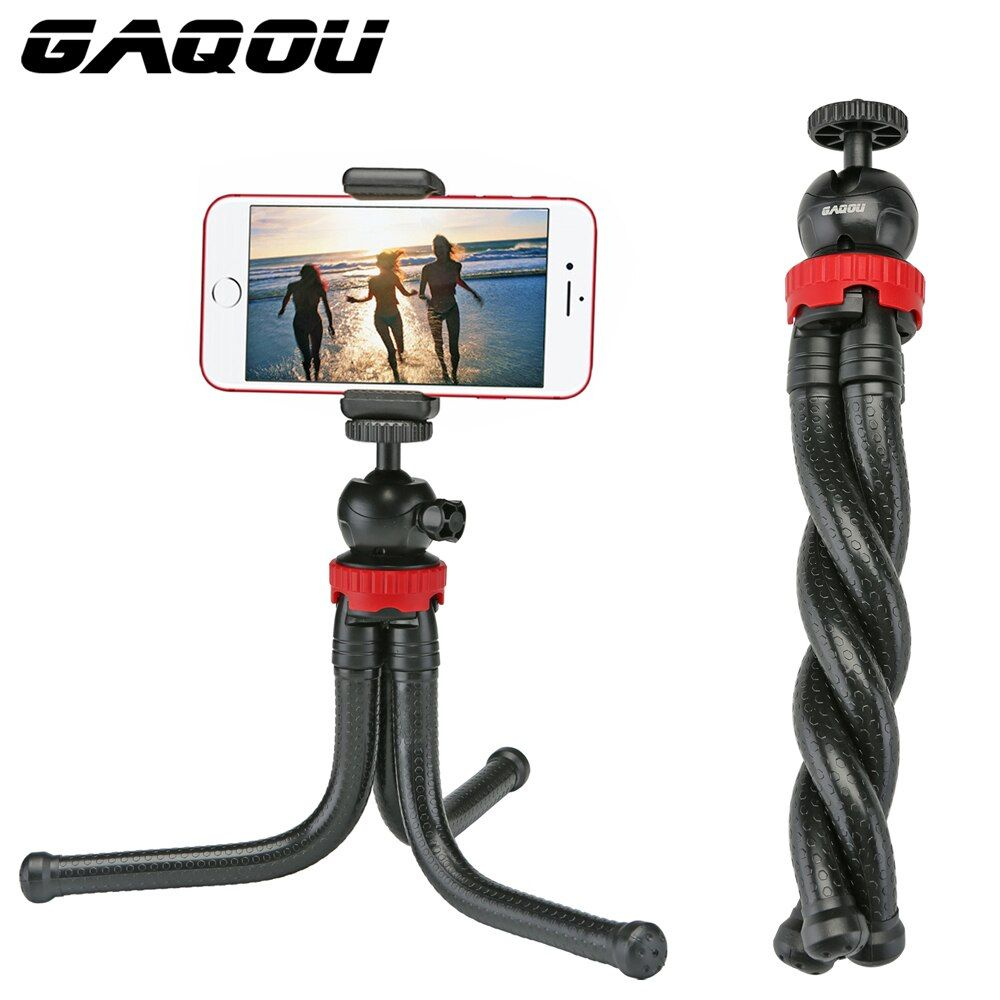 GAQOU Portable Tripod Flexible Octopus Travel Mini Mobile Phone Tripod Bracket Monopod Selfie Stick For iPhone DSLR Camera Gopro