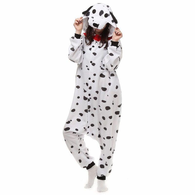 Noël Halloween cadeau d'anniversaire dalmatien tacheté chien polaire Onesie Homewear à capuche pyjamas vêtements de nuit Robe pour adultes