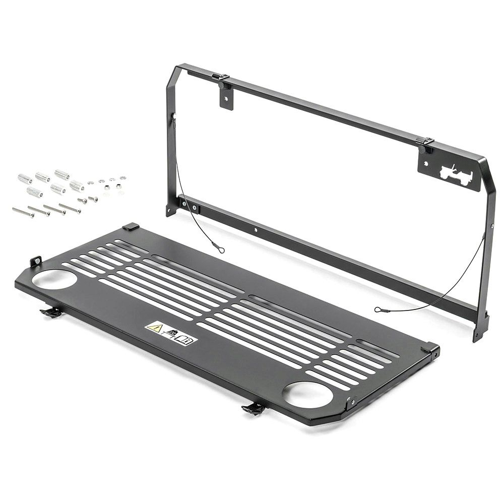 Aluminium Legierung Flexible Heckklappe Tisch Lagerung Ladung Regal Rack Matte Stamm Gepäck Halter Für Jeep Wrangler JL 2018- 2019