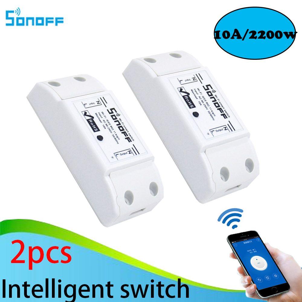 2 pcs Sonoff Maison Intelligente Sans Fil Télécommande Intelligente Produits Itead Partager Minuterie Bricolage 220 v Via Android IOS Wifi commutateur