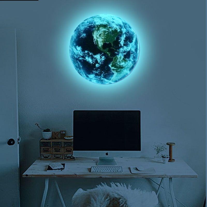 Heißer verkauf 1 STÜCKE new Luminous blue earth Cartoon DIY 3d Wand aufkleber für kinderzimmer schlafzimmer wandaufkleber wohnkultur Wohnzimmer