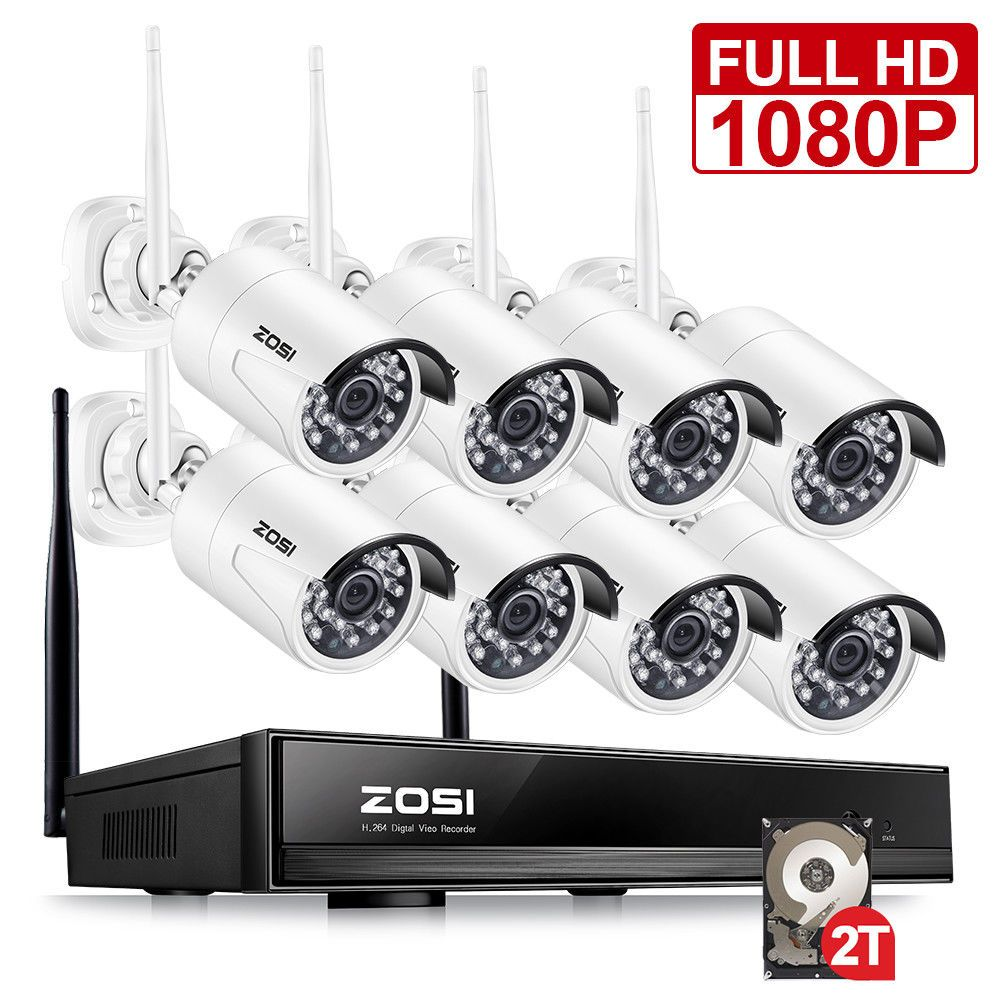 ZOSI 8CH CCTV System Wireless 1080P HD NVR 8PCS 2.0MP IR Outdoor Waterproof P2P Wifi Security Camera System Surveillance Kit