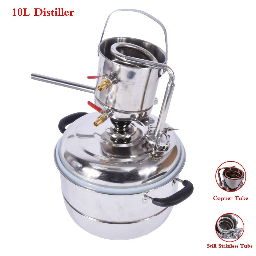 3 gas/10L Alcohol Whisky Water Distiller Moonshine Still Stainless/Copper Tube Keg Wine DIY Household Distillation Boiler Kit