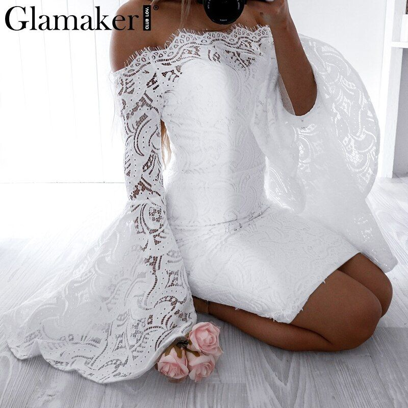 Glamaker Off shoulder lace women dress robe Flare sleeve bodycon autumn dress Evening party elegant dress vestido de festa