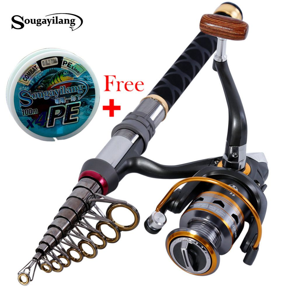 1.3m-2.4m Stick Fishing Rod de Carbon <font><b>Fiber</b></font> Fishing Rod for Fish Olta Spinning Telescopic Mini Fishing Rod Set with Reel Pole