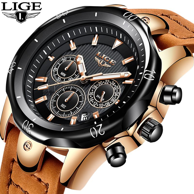 2018 New LIGE Watches Mens Business Fashion Top Luxury Brand Watch Men military Sport Waterproof Leather Watch Relogio Masculino