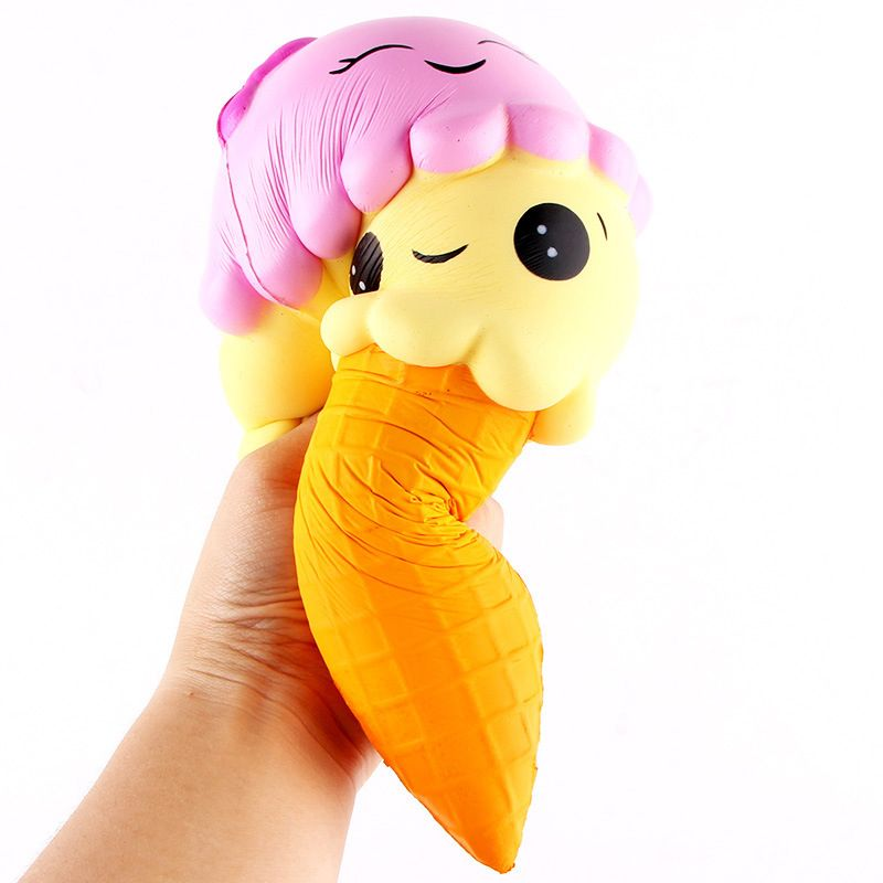 Jumbo 22CM Cartoon Double Smiley Face Ice Cream Squishy Slow Rising Sweet scented Charms Food rebound Bread Kid Toys P15
