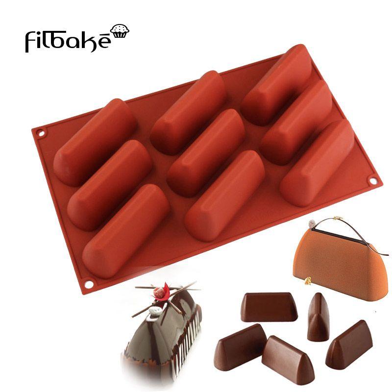 Filcuire cuisson décoration Toos 3D 9 cavité Rectangle en forme de colline gâteau moule bricolage Petite miche Silicone moule pour Muffin, chocolat