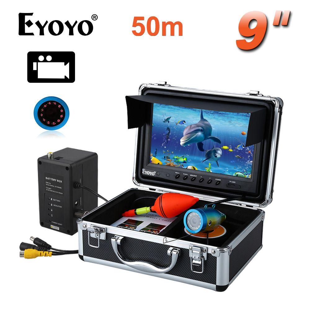 EYOYO Professionelle 50 Mt IR 8 GB Fisch Finder Angeln Video Kamera DVR Recorder 9 LCD 1000TVL NOCKEN Freies sonnenblende