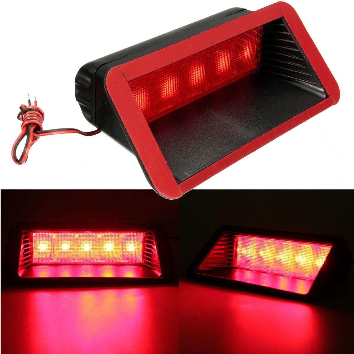 Универсальный 12 В автомобиля 5 светодиодный Предупреждение сзади хвост 3rd стоп противотуманных фар высокая гора лампы красный