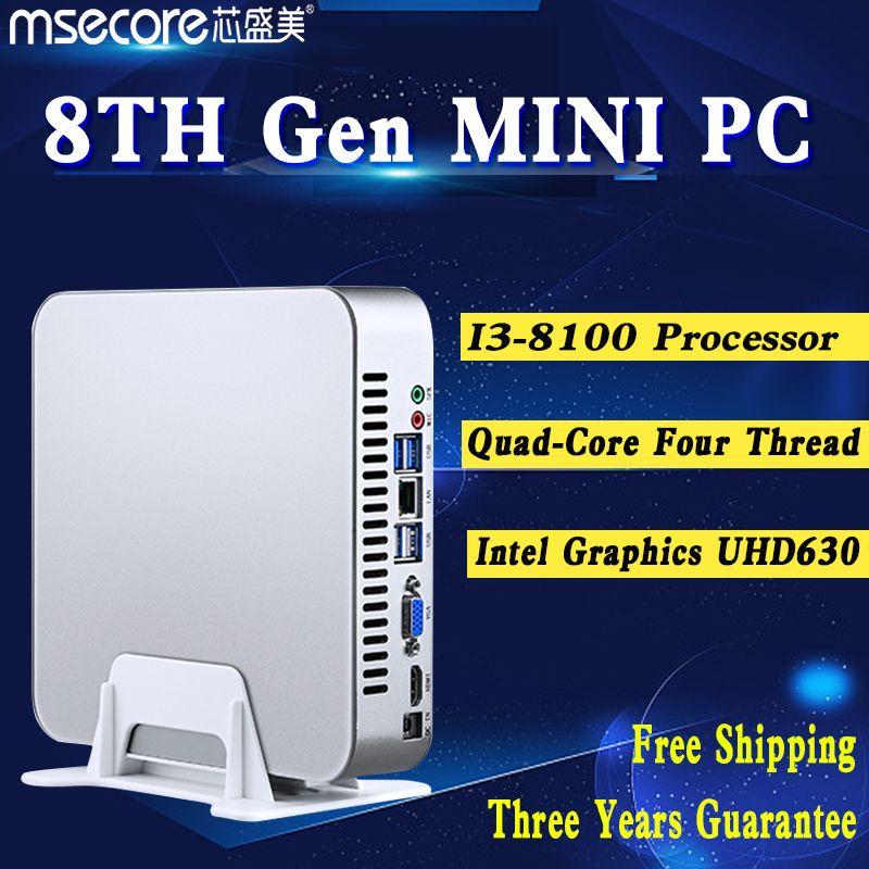 MSECORE i3 8100 Quad core 4 thread Mini PC Desktop Computer Windows 10 Nettop barebone system HTPC UHD630 Graphics 4K 300M WiFi